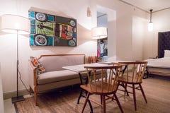 Grand Hyatt Singapore. Light colored luxury hotel interior design with classic furniture Stock Images