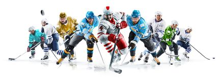 Grand ice hockey collage with professional players on the white background royalty free stock photo