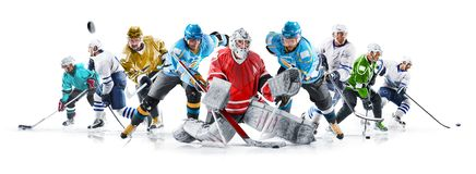 Grand ice hockey collage with professional players on the white background royalty free stock photos