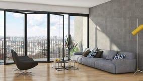 Grand illus lumineux moderne de luxe de salon d'appartement d'intérieurs illustration stock