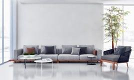 Grand illus lumineux moderne de luxe de salon d'appartement d'intérieurs illustration libre de droits