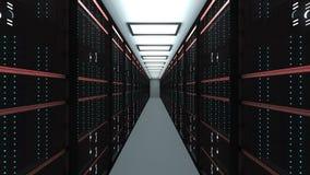 Grand intérieur de pièce de serveur dans le datacenter, le réseau de Web et la technologie de télécommunications d'Internet, le s illustration de vecteur