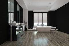 Grand intérieur noir et blanc spacieux de salle de bains Images libres de droits