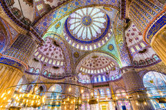 Grand interior of Blue mosque Royalty Free Stock Images