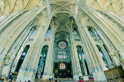 The grand interior of the landmark Saint-Eustache church Royalty Free Stock Image
