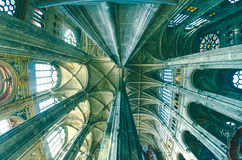 The grand interior of the landmark Saint-Eustache church Stock Photo