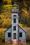 Grand Island East Channel Lighthouse on the way to Pictured Rock. Old abandoned wooden lighthouse (Grand Island East Channel Lighthouse) on the way to Pictured royalty free stock photo