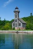 Grand Island Lighthouse, Superior Lake, Michigan, USA. Old lighthouse on the Grand Island from the Superior Lake, Michigan, USA stock images