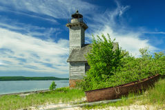 Grand Island Lighthouse, Superior Lake, Michigan, USA. Old lighthouse on the Grand Island in Superior Lake, Michigan, USA royalty free stock photos