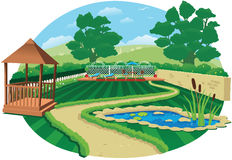 Grand jardin de pays avec l'étang Images libres de droits