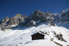 Grand Jorasses and freeriders, extreme ski, Aiguille du Midi, French Alps Royalty Free Stock Photography
