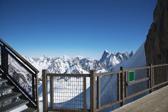 Grand Jorasses and freeriders, extreme ski, Aiguille du Midi, French Alps Royalty Free Stock Images