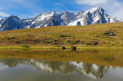 Grand Jorasses glacier and Giant tooth reflection Stock Photography
