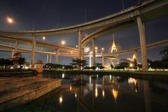 Grand King Bhumibol Bridge with reflection on pond Stock Photos