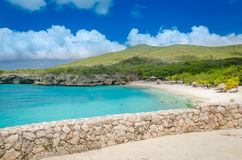 Grand Knip Beach in Curacao at the Dutch Antilles. Curacao, Caribbean - october 1, 2012: Grand Knip Beach in Curacao at the Dutch Antilles, a Caribbean island royalty free stock image