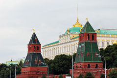 Grand Kremlin Palace. (Bolshoy Kremlyovskiy Dvorets). View from the Moscow River embankment Royalty Free Stock Images