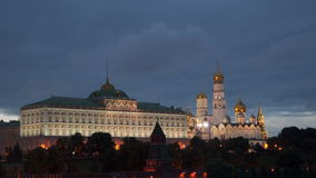 Grand Kremlin Palace and Cathedral of the Annunciation in Moscow at night. Russia stock footage