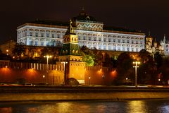 Grand Kremlin Palace of Moscow Kremlin with night illumination stock images