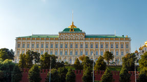 The Grand Kremlin Palace. And part of the Kremlin wall, the view from the Moscow river. Moscow, Russia royalty free stock photo