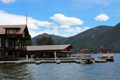 Grand Lake, Colorado. A scenic view of Grand Lake, Colorado, a popular vacation resort on the edge of Rocky Mountain National Park stock photos