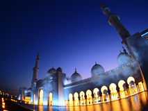 Grand lighting in mosque Stock Photo
