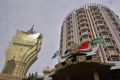 Grand Lisboa Hotel with Casino Lisboa Hotel in Macau Royalty Free Stock Images