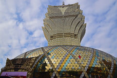 Grand Lisboa Hotel in Macau resembling leaves pattern with the semiphere and hotel name visible Stock Photography
