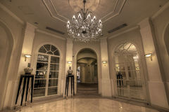 Grand Lobby Foyer. With Crystal Chandelier Stock Images