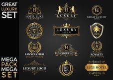 Grand Logo Template Vector Design d'ensemble de luxe, royal et élégant illustration stock
