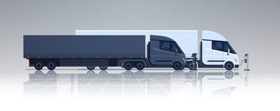 Grand Lorry Semi Truck Trailers Charging à la bannière éclectique de station de chargeur horizontale Photographie stock