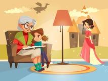 grand-mère de bande dessinée lisant à la fille illustration de vecteur