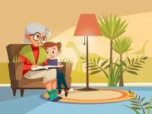 Grand-mère de bande dessinée de vecteur lisant au garçon illustration libre de droits