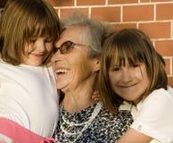 Grand-mère et enfants Images libres de droits