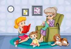 Grand-mère et enfants dans la chambre illustration stock