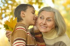 Grand-mère et petit-fils Images libres de droits