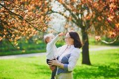 Grand-mère et petite-fille appréciant la saison de fleurs de cerisier photos libres de droits
