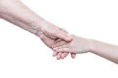 Grand-mère et petite-fille de poignée de main Photos libres de droits