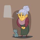Grand-mère heureuse et son chat Image stock