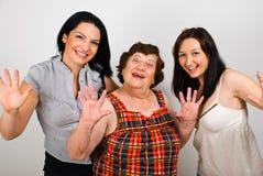 Grand-mère heureux avec des petite-filles Images libres de droits