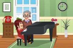 Grand-mère jouant le piano avec sa petite-fille illustration de vecteur