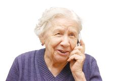 Grand-mère parlant avec un téléphone portable Image stock