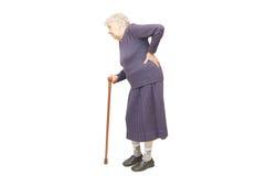 Grand-mère retenant une canne Images stock