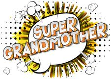 Grand-mère superbe - mots de style de bande dessinée illustration libre de droits
