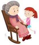 Grand-mère sur la chaise de basculage et fille illustration stock