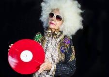 Grand-maman du DJ photographie stock libre de droits