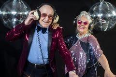 Grand-maman et grand-papa du DJ image stock