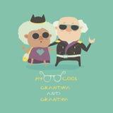 Grand-maman fraîche et grand-papa portant dans la veste en cuir Image libre de droits