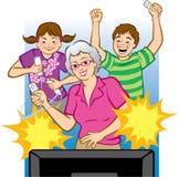 Grand-maman jouant des jeux vidéo Image libre de droits