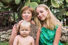 Grand-maman, petit-fils et petite-fille en parc Images stock