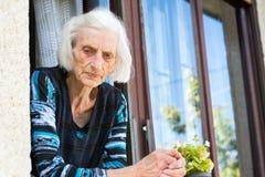 Grand-maman songeuse à la fenêtre à la maison Image libre de droits